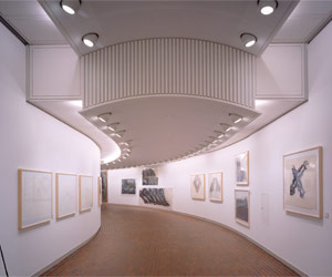 Louisiana interior. The curved graphic hallway. Photo: Jens Frederiksen Credit: Louisiana Museum of Modern Art