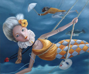 Terri Duan: Dangerous Flight 90cmx90cm oil on canvas