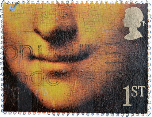 Stamp with Mona Lisa smile