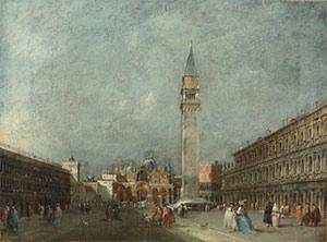 Francesco Guardi (1712-1793) A pair of Venetian views – the first: The Piazza San Marco looking towards the Basilica.